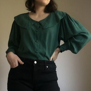 Vintage 1980s  Forest Green Blouse